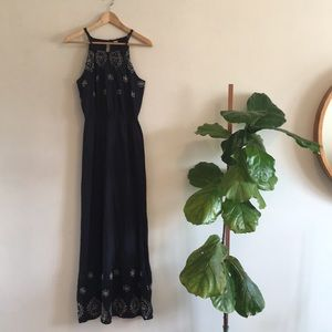 OLD NAVY Navy Halter Maxi Dress Eyelet Detail S/P